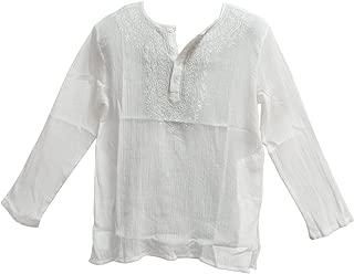 Mens Indian White Bohemian Crinkled Gauze Cotton Embroidered Tunic Shirt Kurta