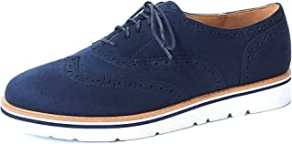 VANDIMI Womens Lace Up Loafers Perforated Oxfords Shoes Casual Platform Wingtip Brogue Sneakers