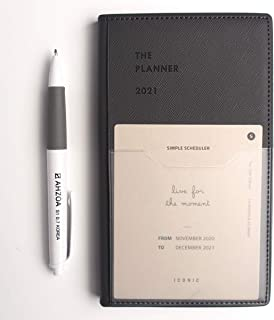 2021 Weekly Dated Pocket Size Planner with AHZOA Pencil, Date is Printed Diary (Gray)