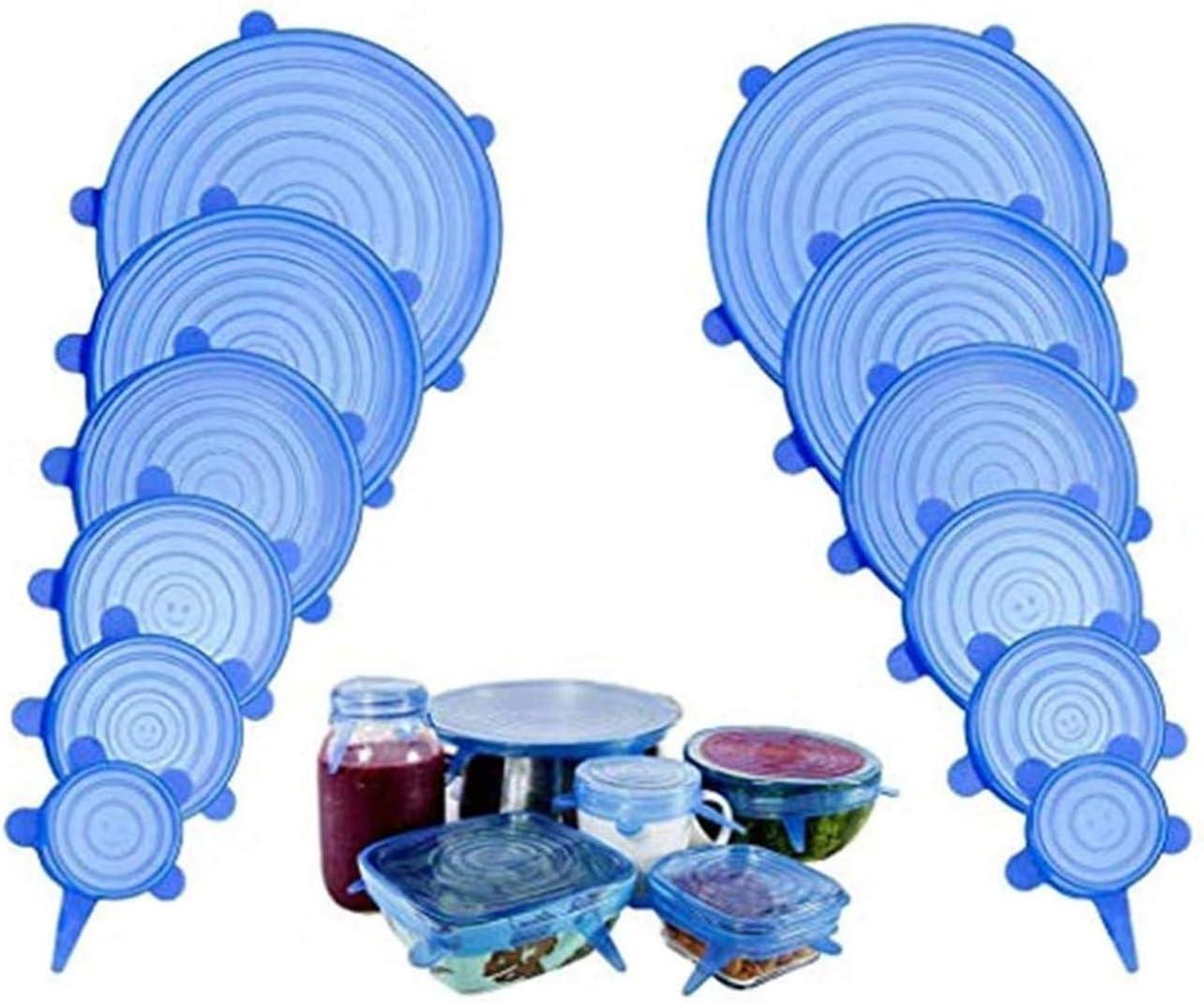 blu 12pcs Conserva Freschi i Cibi Set 12 pezzi riutilizzabile e ermetico adattabile a diverse dimensioni e forme di contenitori Coperchi in Silicone Estensibili