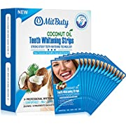 MitButy Teeth Whitening with Natural Coconut oil, 28 Non-Slip White - Professional Safe Effects, 14 Treatments
