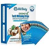 Bandes de blanchiment des dents MitButy à l'huile naturelle de noix de coco, 28 bandes blanches anti-dérapantes