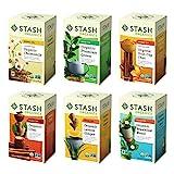 Stash Tea Organic Tea Six Flavor Assortment 18 Count Tea Bags in Foil (Pack of 6) Individual Tea Bag Variety Pack, Use in Teapots Mugs or Cups, Brew Hot Tea or Iced Tea