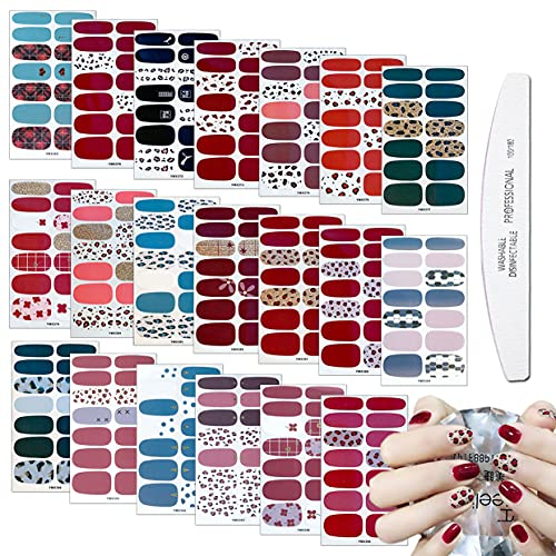 WOKOTO 20 Sheets Adhesive Leopard Print Nail Polish Strips Stickers Nail Wraps for Women Tips with 1Pc Nail File Nail Polish Decals Strips Set Manicure Accessories