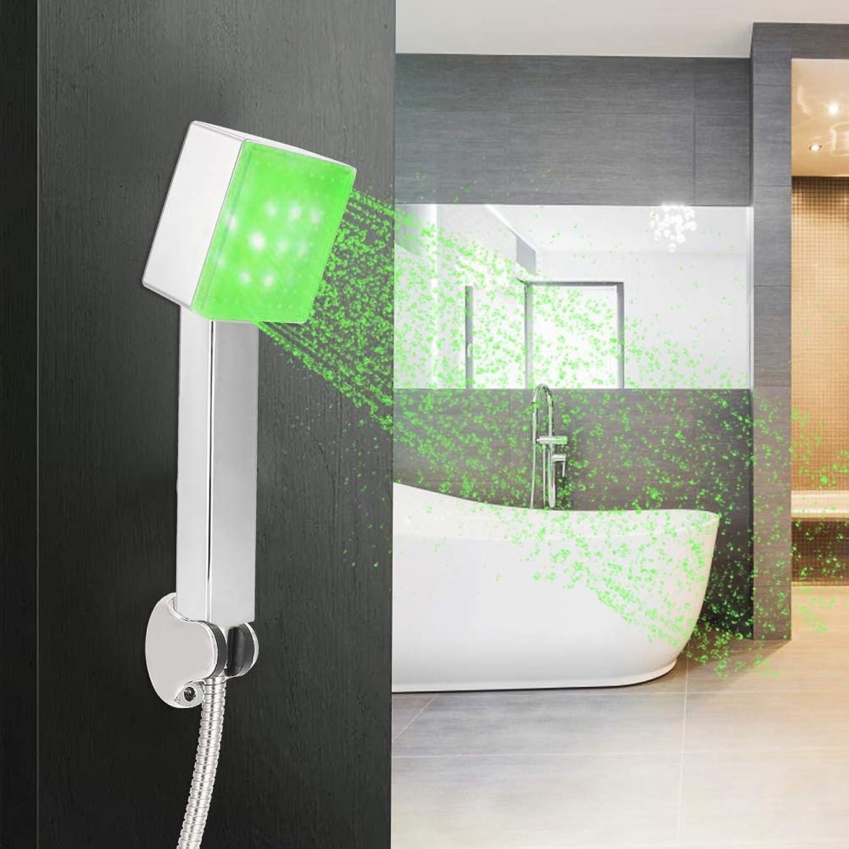 授業料微妙植物の温度制御LEDライトシャワーヘッド、3色LEDライトハンドヘルドスプレーシャワーヘッドバスルームG1/2」