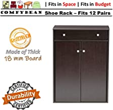 ComfyBean-Barlow Shoe Cabinet-Engineered Wood-2 Door Shoe Rack with Drawer(Fits : 12 Pairs, Finish : Woodpore Laminate Finish, Color : Natural Dark Wenge)