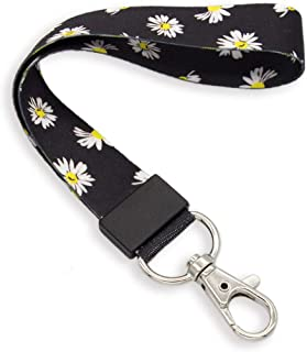 SENLLY Daisies Fashion Hand Wrist Lanyard Premium Quality Wristlet Strap with Metal Clasp, for Key Chain, Camera, Cell Mobile Phone, Charms, Lightweight Items etc