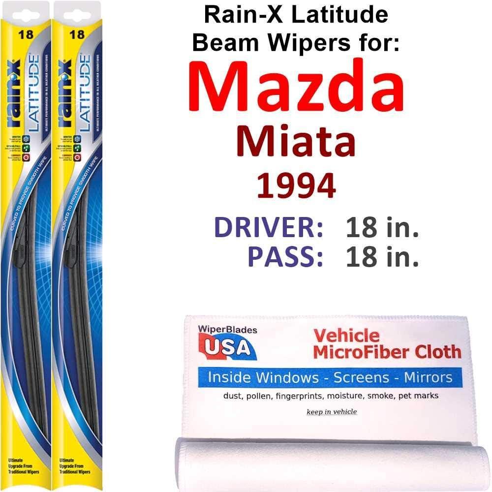 Rain-X Latitude Beam Wiper Blades 卸売り for Mazda 往復送料無料 1994 Set Rain- Miata