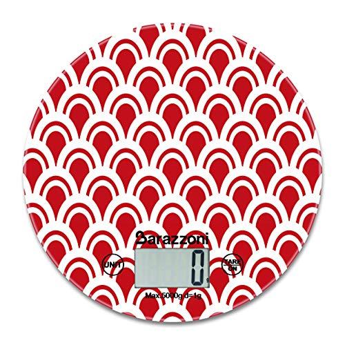 Digitale keukenweegschaal, rond, rood