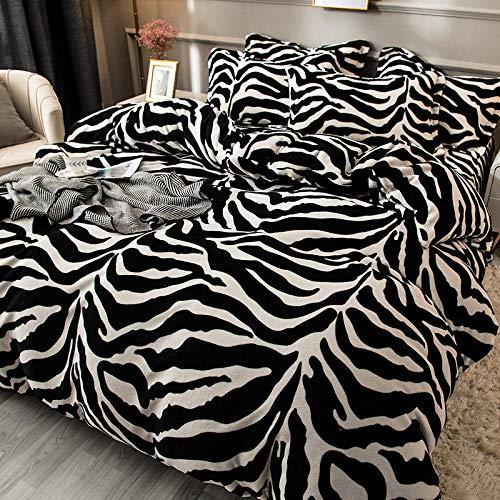 Ropa de cama de funda nórdica,Juego de cama de lana de coral blanco y negro grueso de invierno,la funda de almohada del lado ancho del dormitorio es individual doble king size H 150 * 200cm(3pcs)