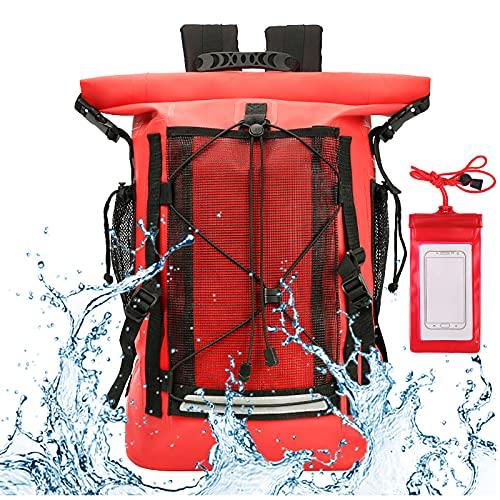 YYFGJCC Mochila Impermeable Recubierta De Montañismo Al Aire Libre con Bolsa Seca para Teléfono,Bolsa De Buceo Impermeable Doble,Bolsa De Natación para Rafting