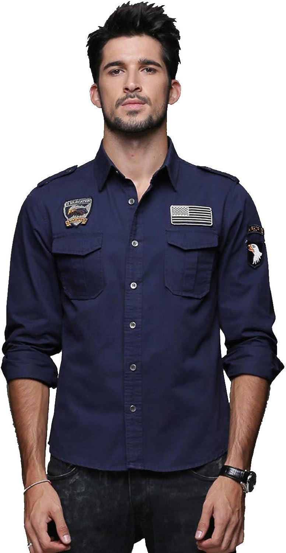 Men's Fashion Cargo Tactical Work Shirt Cotton Long Sleeve Button Down Shirts