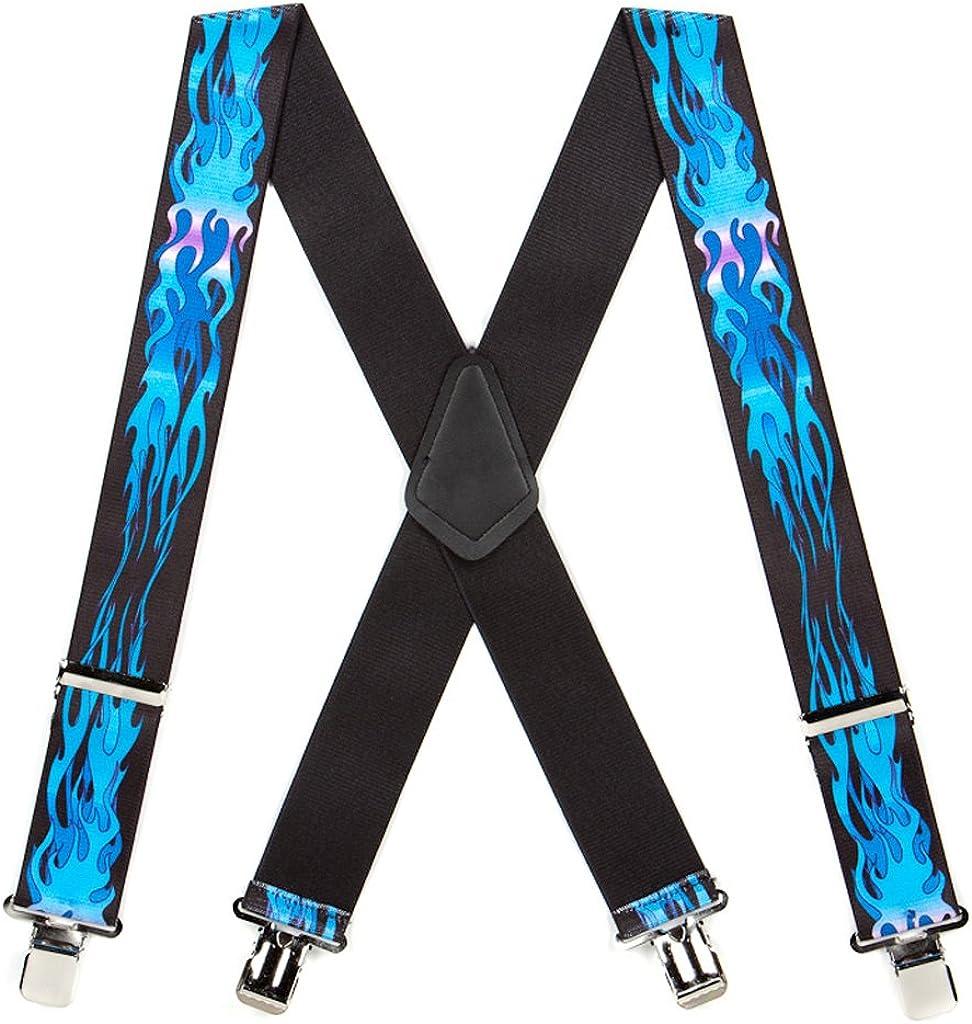SuspenderStore Men's Flames Suspenders, Assorted Colors - 2 Inch Wide, Clip