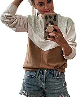Women Tops Plus Size Long Sleeve Patchwork Sweatshirt Pullover Loose O-Neck Shirt Blouse Jumper