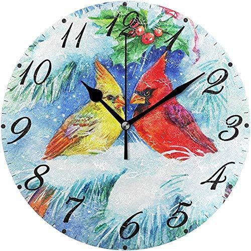 L.Fenn Silent Diameter Art Wandklok Ronde Vrolijk Kerstmis leuke vogel sneeuw winter boom decoratief