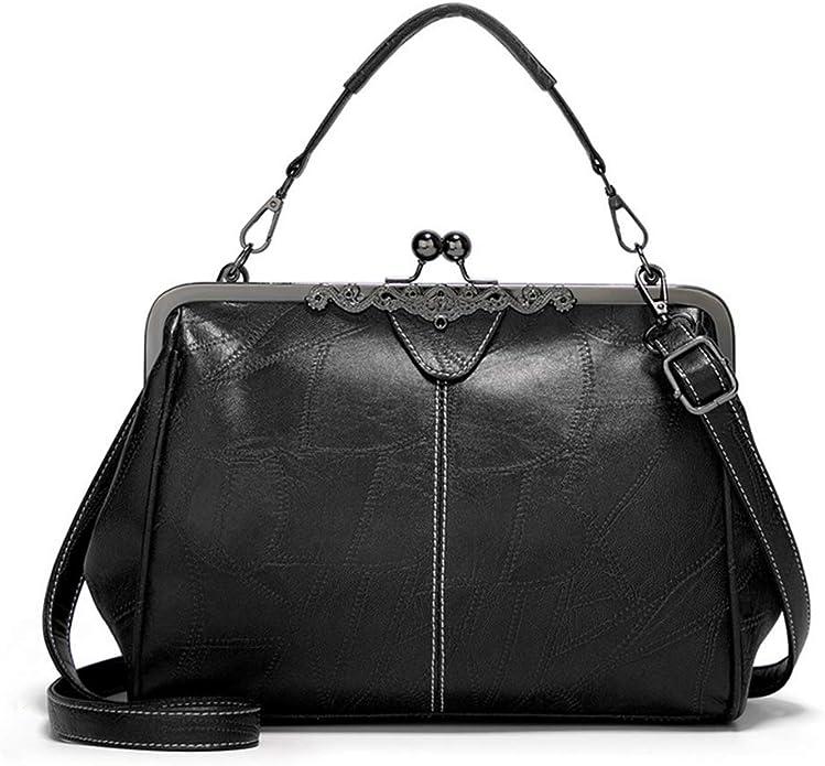 What Did Women Wear in the 1950s? 1950s Fashion Guide Women Retro Hollow Oil Wax PU Leather Handbag Kiss Lock Messenger Bag Handbags  AT vintagedancer.com