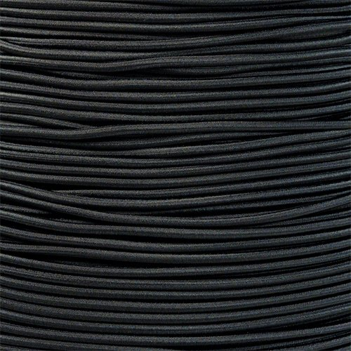 PARACORD PLANET 1/8 Inch Shock Cord – Choose from 10, 25, 50, and 100 Feet – Made in USA (Black, 100 Feet)