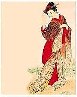 Pintura por números Traje japonés Kimono Belleza Lienzo Hecho a mano Japón Imagen de arte de pared para decoración del hogar Adulto 40x50 cm-With Frame
