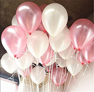 """Syndecho 10"""" Pink and White Latex Balloons Baby Shower Wedding Party Decorations,100pcs"""