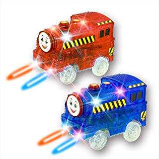 New ideas Track Cars,Light Up Replacement Toy Car (2-Pack) ,5-LED Lights Glow in The Dark Racing Track Compatible with Most Tracks,Boys and Girls (2 Pack (red +Blue)) …