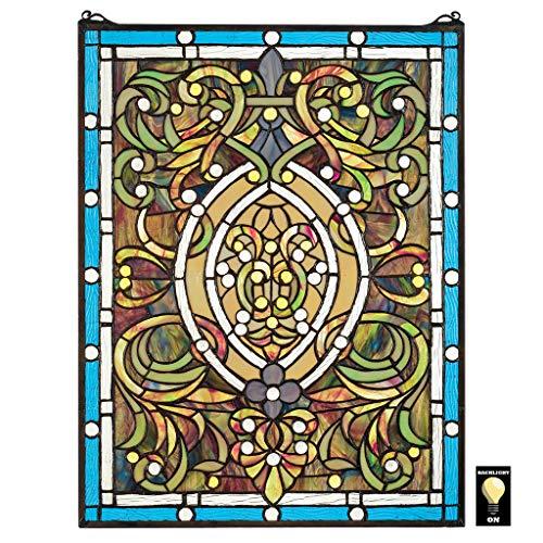 Buntglas-Panel - Beguiled in Blau Buntglas-Fenster Behang - Fensterbehandlungen