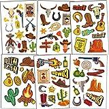 Qpout Western Cowboy Tatuajes Temporales, Western Wild West dibujos animados tatuajes falsos a prueba de agua pegatinas West fiesta Rodeo cumpleaños Cowboy Decoración de fiesta(6 hojas)