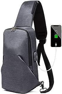Men's Casual Chest Bag, Black Waterproof Shoulder Messenger Bag, USB Charging Interface Messenger Shoulder Bag,Gray