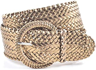 Women's Fashion Web Woven Braid Faux Leather Metallic Wide Belt