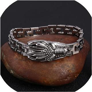 Kabby 316L Stainless Steel Cool Men's Steel Biker Man Skull Charms Bracelet Chain Price Bracelets & Bangles
