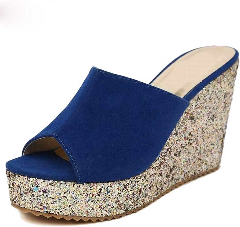 Hoxekle Womens Glitter Sequin High Heel Summer Sandals Faux Suede Platform Ladies Wedges Antislip Flip Flops