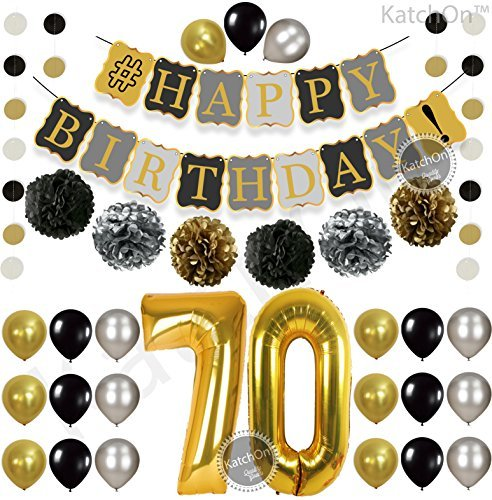 Gold 70th Birthday Decorations for Men Kit