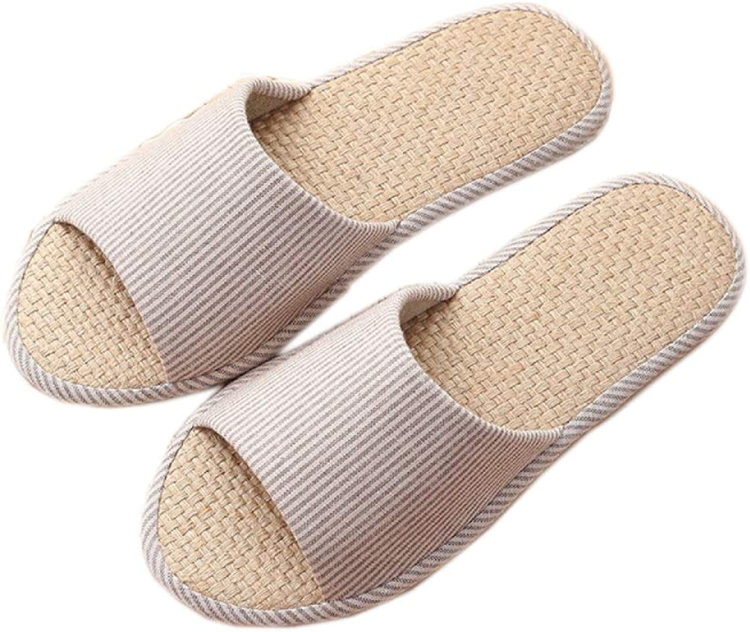 KWWA Home Linen Slippers Indoor Couple Sandals and Plain Plain Linen Floor Mopping Floor shoes Sandals