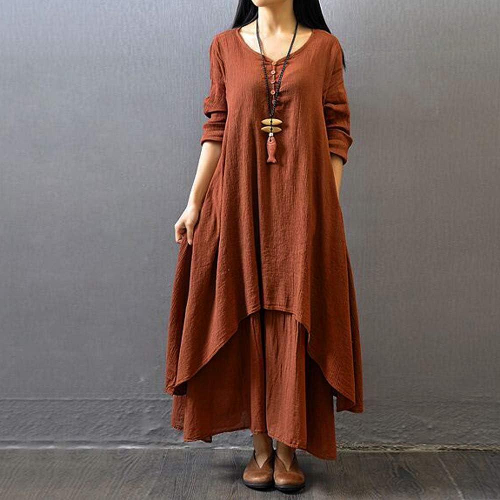 Maxi Dress Dress Boho Cotton Linen Tunic Long Sleeve Kaftan Womens Casual