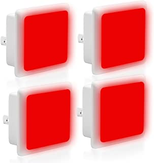LOHAS Red Light Dusk to Dawn Night Lights Plug in, LED Red Night Light Bulb with Smart Sensor, Auto on Off Nightlights, 0.3W Ultra Slim, Small Square Bulbs for Bedroom, Hallway, Toilet(Pack of 4)