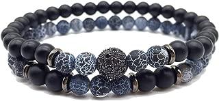 2pcs/Set Cz Ball Men Bracelet Charm 6mm Stone Beaded Bracelet Men Armband Jewelry Gift