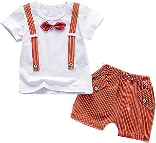 58ed8f8446 2PC Gentiluomo Classico Suit Formali Magliette a Maniche Corte con Papillon  e Pantaloncini a Stripe Stampa