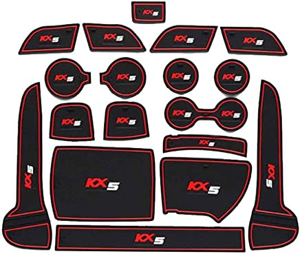 OmkuwlQ for Kia Sportage KX5 16-18 Anti-Skid Door Groove Gate Slot Pad Mat Kit Car Non-Slip Cup Mats Auto Decoration