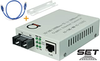 Multimode Gigabit Fiber Media Converter - Built-In Fiber Module 2 km (1.24 miles) SC – to UTP Cat5e Cat6 10/100/1000 RJ-45 – Auto Sensing Gigabit or Fast Ethernet Speed - Jumbo Frame - LLF Support