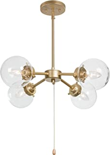 """KSANA Gold Chandelier with Pull Chain On/Off Switch, 2 in 1 Sputnik Chandeliers and Semi Flush Mount Ceiling Light for Dining Room, D19.7""""x H11.5"""""""