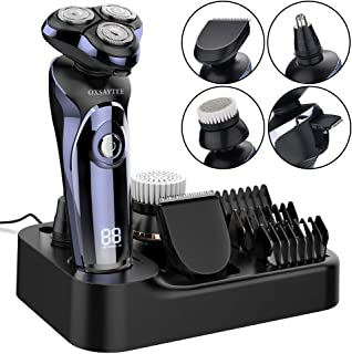 Electric Shaver for men, Wet & Dry Men's Electric Rotary Shaver Razor with Nose Hair Trimmer Facial Cleaning Brush, Hair Clippers, USB Rechargeable Waterproof Cordless Multifunctional Grooming Kit