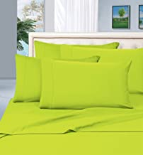 Elegant Comfort 1500 Thread Count Wrinkle & Fade Resistant Egyptian Quality Hypoallergenic Ultra Soft Luxurious 4-Piece Bed Sheet Set, Queen, Lime-Neon Green