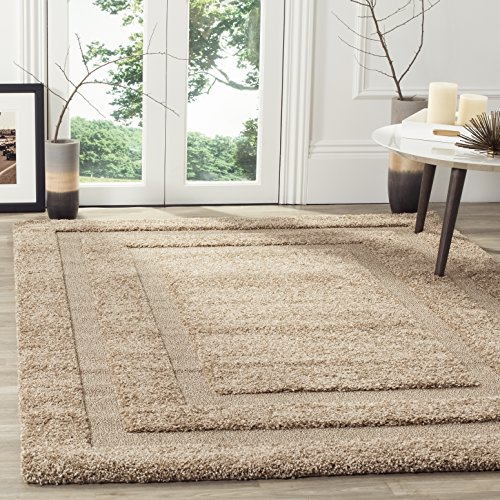 SAFAVIEH Florida Shag Collection SG454 Border Non-Shedding Living Room Bedroom Dining Room Entryway Plush 1.2-inch Thick Area Rug, 4' x 4' Square, Beige / Beige