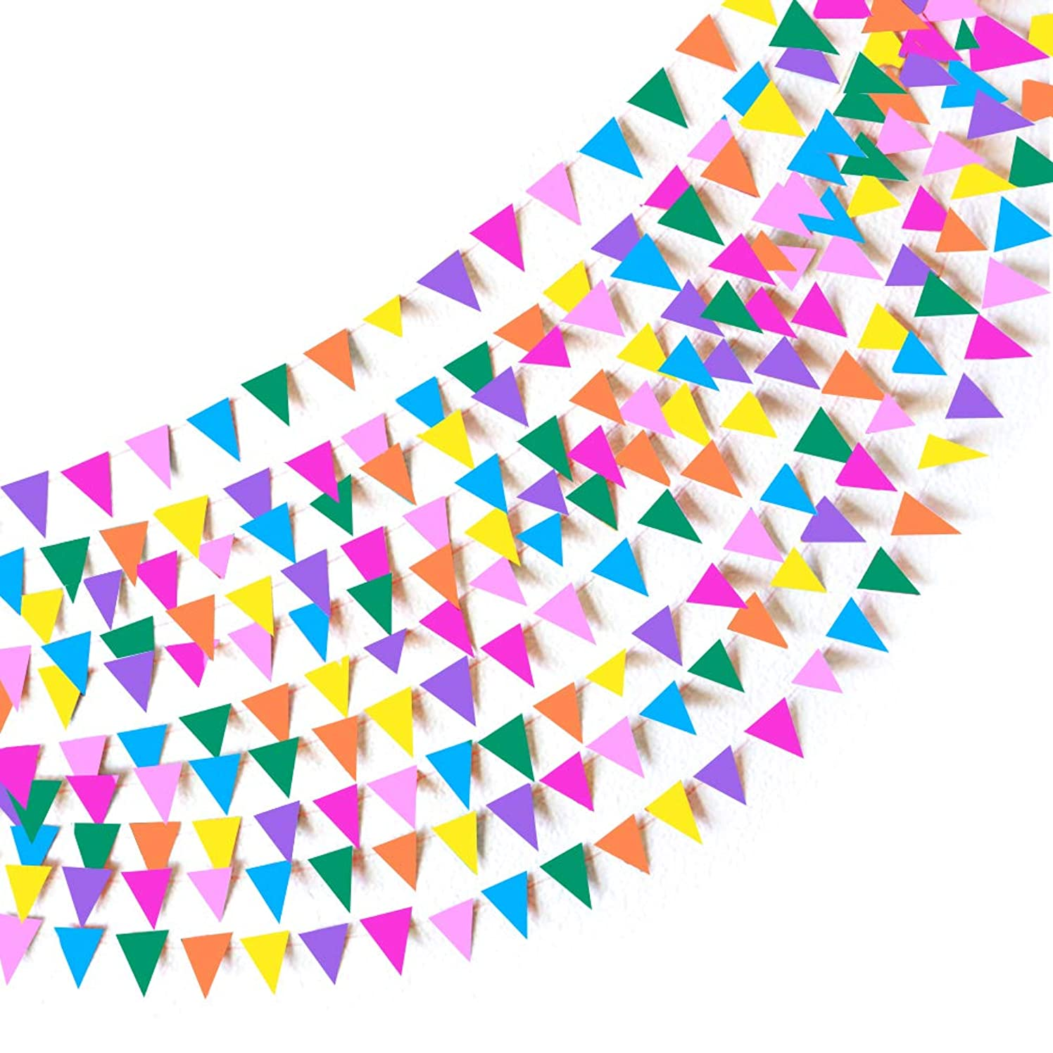 Small Pennant Garland Birthday Paper Party Bunting Banners Decorations Set of 2, Assorted