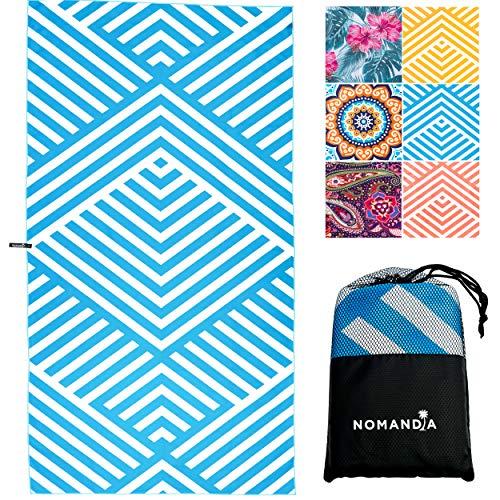 Nomandia Microfibre Beach Towel Extra Large - 180x90cm Sand Free Lightweight & Quick Dry Microfibre Towel and Travel Bag - This Microfiber Towel is perfect as Beach Towel & Travel Towel