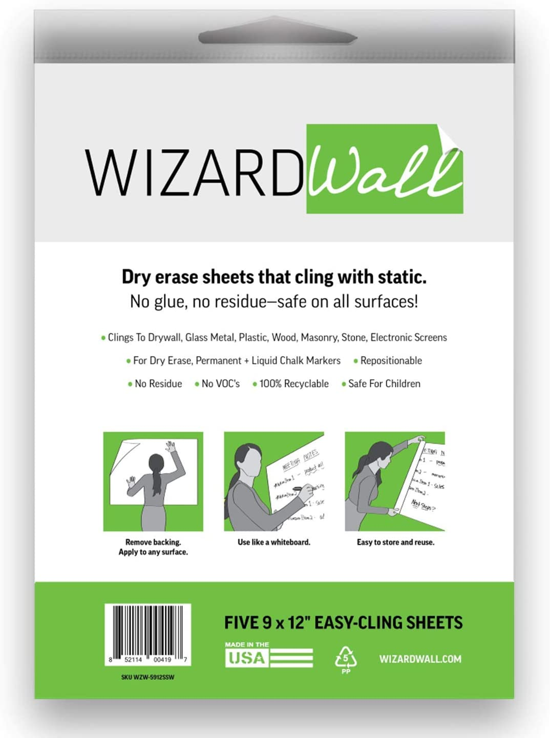 Wizard Wall Large Easy-Cling Sheets Su Repositionable Don't miss the Outlet ☆ Free Shipping campaign Dry Erase