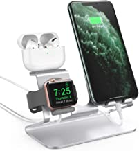 AhaStyle 3 in 1 Charging Stand Dock Aluminum Desktop Holder for Cell Phone, AirPods Pro/AirPods 2/ AirPods and Apple Watch Series 5/4/3/2/1(Silver)