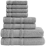 Qute Home Towel Set; 2 Bath Towels, 2 Hand Towels, and 4 Washcloths | Spa & Hotel Towels Quick Dry 100% Turkish Cotton Towel Sets for Bathroom, Shower Towel (Grey, Towel Set - Set of 8)