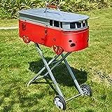 AAGYJ Barbecue a carbonella Portatili con Ruote, Griglie per Barbecue e Fumatori, Ampia Superficie per Grigliare, Barbecue indipendenti, per Campeggio, Viaggio, Giardino, Esterno