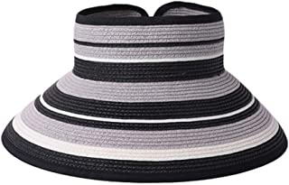 Hats Beach Top Hat Foldable UV Straw Hat Summer Sun Korean Sun Visor Sun Hat Fashion (Color : Grey, Size : 56-58cm)