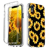 JDHDL Case for iPhone Xs Max 6.5 inch,Full Body Protection with Built-in Screen Protector Heavy Duty Shockproof Anti-Scratch Cover Case(Sunflower)
